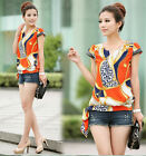 Vintage Women's Chiffon Short Sleeve Casual Printed T-shirt Top Blouse CAHF