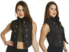 Military Retro-Chic Classy Tuxedo Waistcoat Sleeveless Denim VEST Jacket Crop