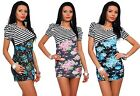 Womens Short Sleeve Striped & Floral Print Mini Dress Multi Color Club Top # 217
