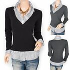 Unique V-Neck Collared Built-in Striped Career Shirt Blouse Top Plus Sizes