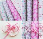 Riley Blake Bundle Quilting Cotton Fabric Lovey Dovey x4 FQ Flowers Birds Pink