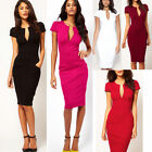 Women Sexy Deep V-neck Bodycon Business Party Slim Pencil Cocktail Dress New