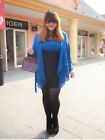 PN New Large Size Ladies Fashion Polyester Blue Off-Shoulder Two-piece Dress