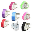 Colour UK USB Mains charger plug for iPhone 5 4G 4S 3GS iPod Nano Touch MP3 NEW