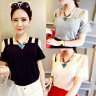 Cut Out T Shirt Strap Cold Shoulder Open Back Clubwear Solid Top Party Blouse C
