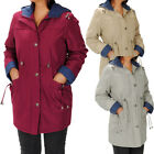 Water Repellent Contrast Hooded Drawstring Padded Parka Coat Plus Size  Womens
