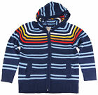Urban Extreme Boys 4-7  Long Sleeve Navy Blue Striped Hooded Cardigan Sweater