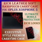RICH LEATHER SOFT CARRY CASE for OPLUS XONPHONE 5 MOBILE HANDPOUCH COVER HOLDER