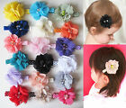 "2"" Chiffon Flower Girls Baby Kids Children Hair Alligator Clips Bows Slides"