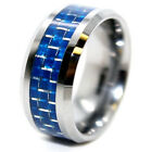 10mm Tungsten Carbide with Blue Carbon Fiber Inlay Unisex Wedding Band (Sz 7-17)