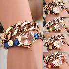 Women Lady Punk Gold Plated Synthetic Leather Chain Quartz Wrist Watch MSYG