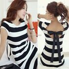 Womens Backless  Striped Sleeveless Bowknot Cocktail Party Mini Dress  NEW