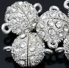 5PCS Silver Plated Round  Crystal Rhinestone Strong Magnetic Clasps Jewelry DIY