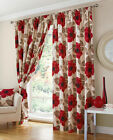 RED POPPY Pencil Pleat Fully Lined Pair Tape Top Ready Made Curtains..9 Sizes