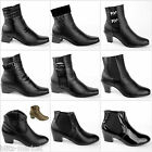 BLACK Womens Lady Ankle Boots Low Heel Chelsea Shoes Buckle Elegant New Size UK