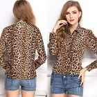 Women Sexy Stylish Loose Leopard Printing Long Sleeve Chiffon Tops Blouse Shirts