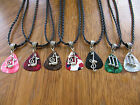 """Tibetan Silver Music Notes Guitar Pick Necklace w/ Your choice of Color 18"""""""