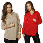 PLUS Dual Pocket Collar Loose Fit Button Down Roll Sleeve Shirt Top Blouse TUNIC