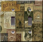 Light Switch Plate Cover - Coffee pattern poster - Vintage used bean java decaf
