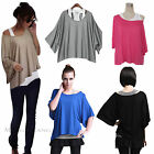 Maggie Tang Ladies 2in1 Batwing Sleeve Off the Shoulder Vest Tops Loose T-shirt