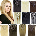 """Full Head 15"""" 18"""" 20"""" 22"""" 24"""" Clip 100% Remy Real Human Straight Hair Extensions"""