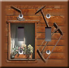 Light Switch Plate Cover - Window chalet flower sunny - Vintage tools decoration
