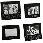 BLACK GLASS THEMED PHOTO FRAME CHOICE OF 3 FRAMES GIRLS FRIENDS OR MUM