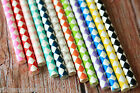 25pc Harlequin DIAMONDS Paper Straws colorful vintage retro style eco partyware