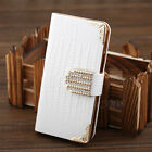 luxury leather bling shining Crystal Flip Wallet Hard case skin for iPhone 5 5C