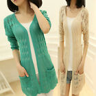 Hot Women's Cardigan Hollow out Sweater Coat Crochet Knit Top Slim Fit Blouse