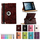 360 Rotating 3D Grape PU Leather Skin Case Cover Swivel Stand for iPad 2 / 3 / 4