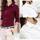 Womens Cute OL Blouse Shirt Long Sleeve Turn-down Collar Button Blouse Tops