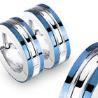 Blue IP Edges Surgical Steel Mens Huggie Hoop Hinge Earrings Pair or Single