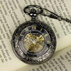 PACIFISTOR Mens Skeleton Mechanical Pocket Watch Transparent Classic Chain Gift
