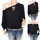 Free Necklace One / Off Shoulders Wide Sleeves Boho Top Blouse