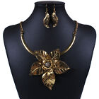 Vintage Collar Necklace Exaggerated Flower Pendant Earrings Dangle Jewellery Set