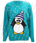U23 NEW WOMENS LADIES PENGUIN SNOWFLAKE CHRISTMAS XMAS KNITTED PLUS SIZE JUMPER