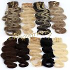 """Free Ship~18""""Curly/Wavy Remy clip in human hair extensions 70g More Colors Gift"""
