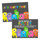 Personalised children's birthday party invitations MONSTERS FUN KIDS BOY GIRL FR