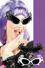 1950's Style Dame Edna Diamante Black ~ White Sunglasses Glasses Fancy Dress