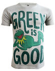 *UK Fit  Kermit The Frog T-shirt Green Is Good Men's Grey T-shirt