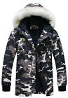 Camouflage men fur collar hooded jacket trench padded long coat parka overcoat-H