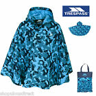TRESPASS Kids Waterproof Showerproof Rain Poncho Boy Girl Blue Camouflage Camo