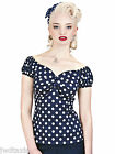 Collectif Polka Dot Dolores Blue Pin Up Rock Vintage Retro 50's Style Top 8 - 22