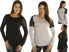 Relax Slouchy Loose Fit Crochet Sheer lace Shoulder Long Sleeve Tee Shirt Top