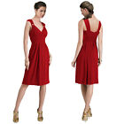 Light Shirred Stylish Knee Length Cocktail Party Day Dress Scarlet