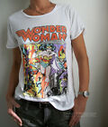 WONDER WOMAN Junk Food Coffehouse T-shirt Wide Crew Neck Roll Up Sleeve NEW SALE