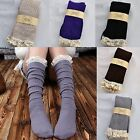 Crochet Warm Lace Trim Cotton Knit Footed Leg Boot Socks Knee High Stockings