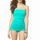 One-Piece Solid Ruched Bandeau Swimsuit Strapless Straps Swimwear Bathers Aqua