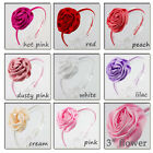 ✿ Matte Satin Ruffled Rose Girls Alice Band ✿ Headband Hair Accessory 8 Colours